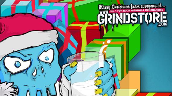 Blue Santa Skully with presents