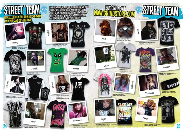 Street Team pics in the Grindstore Summer 2013 catalogue